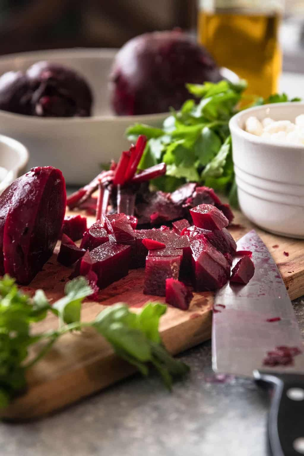 photo of the cubed beets for the beetroot salad recipe by top Houston lifestyle blogger Ashley Rose of Sugar & Cloth