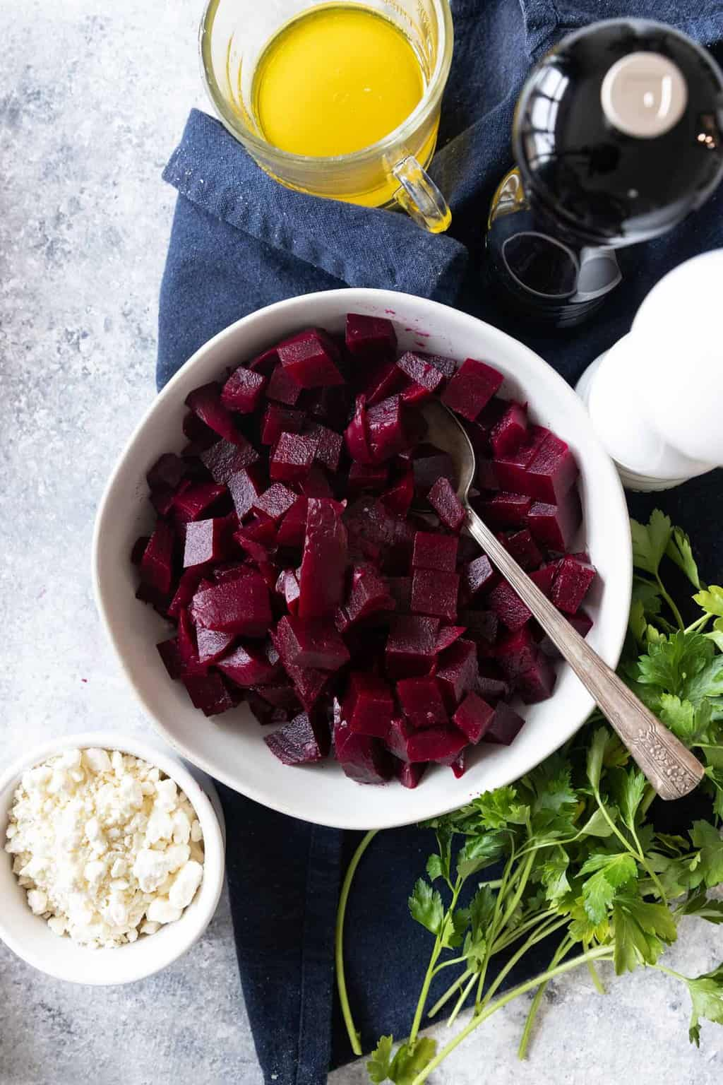 photo of an easy beetroot salad recipe ready to be assembled by top Houston lifestyle blogger Ashley Rose of Sugar & Cloth
