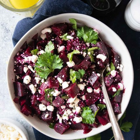 photo of a healthy beetroot salad with goat cheese, parsley and a lemon vinaigrette dressing by top Houston lifestyle blogger Ashley Rose of Sugar & Cloth