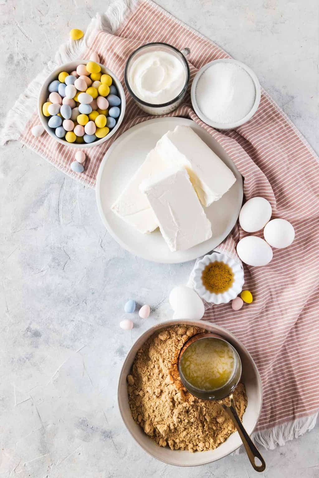 photo of the Ingredients Needed To Make Mini Egg Cheesecake Recipe by top Houston lifestyle blogger Ashley Rose of Sugar & Cloth