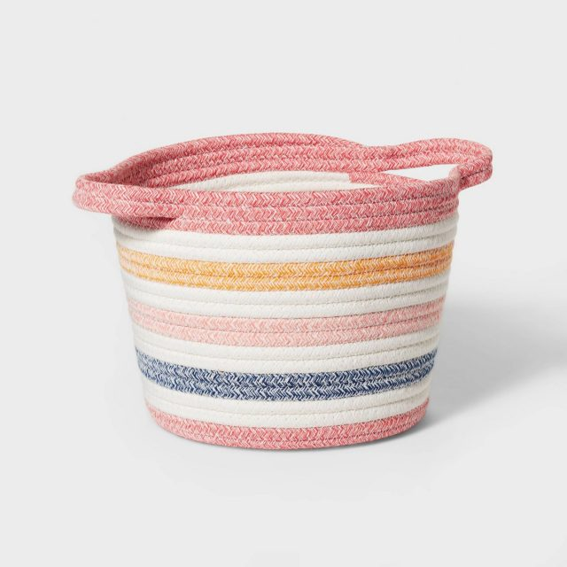 photo of the Striped Coiled Rope Storage Bin by top Houston lifestyle blogger Ashley Rose of Sugar & Cloth