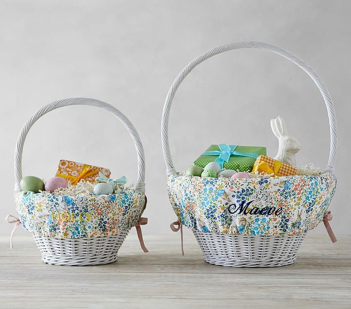 photo of the Personalized Peter Rabbit Floral Easter Basket Liner by top Houston lifestyle blogger Ashley Rose of Sugar & Cloth