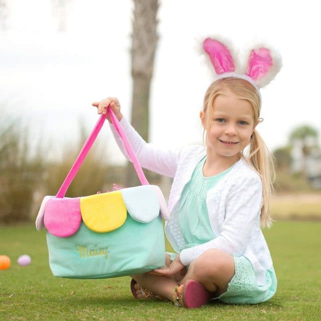 photo of the Personalized Kids Easter Basket by top Houston lifestyle blogger Ashley Rose of Sugar & Cloth