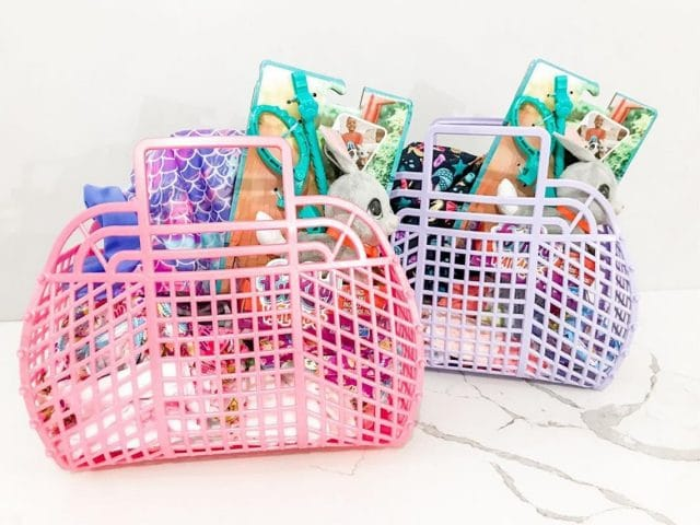 photo of the Retro Jelly Purse as an Easter basket for kids by top Houston lifestyle blogger Ashley Rose of Sugar & Cloth