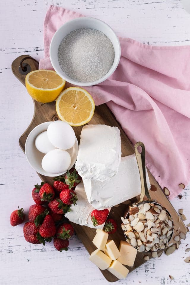 photo of all the ingredients needed to make keto strawberry cheesecake by top Houston lifestyle blogger Ashley Rose of Sugar & Cloth