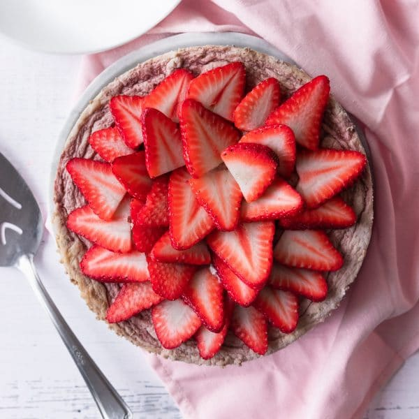 photo of the low carb keto strawberry cheesecake by top Houston lifestyle blogger Ashley Rose of Sugar & Cloth