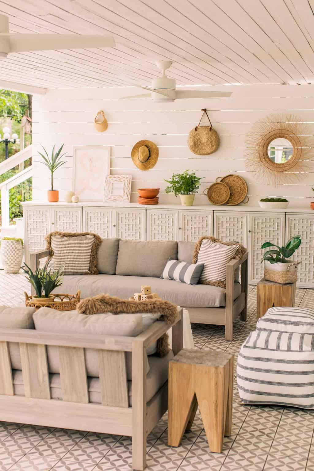 beachy outdoor tiled patio with couches