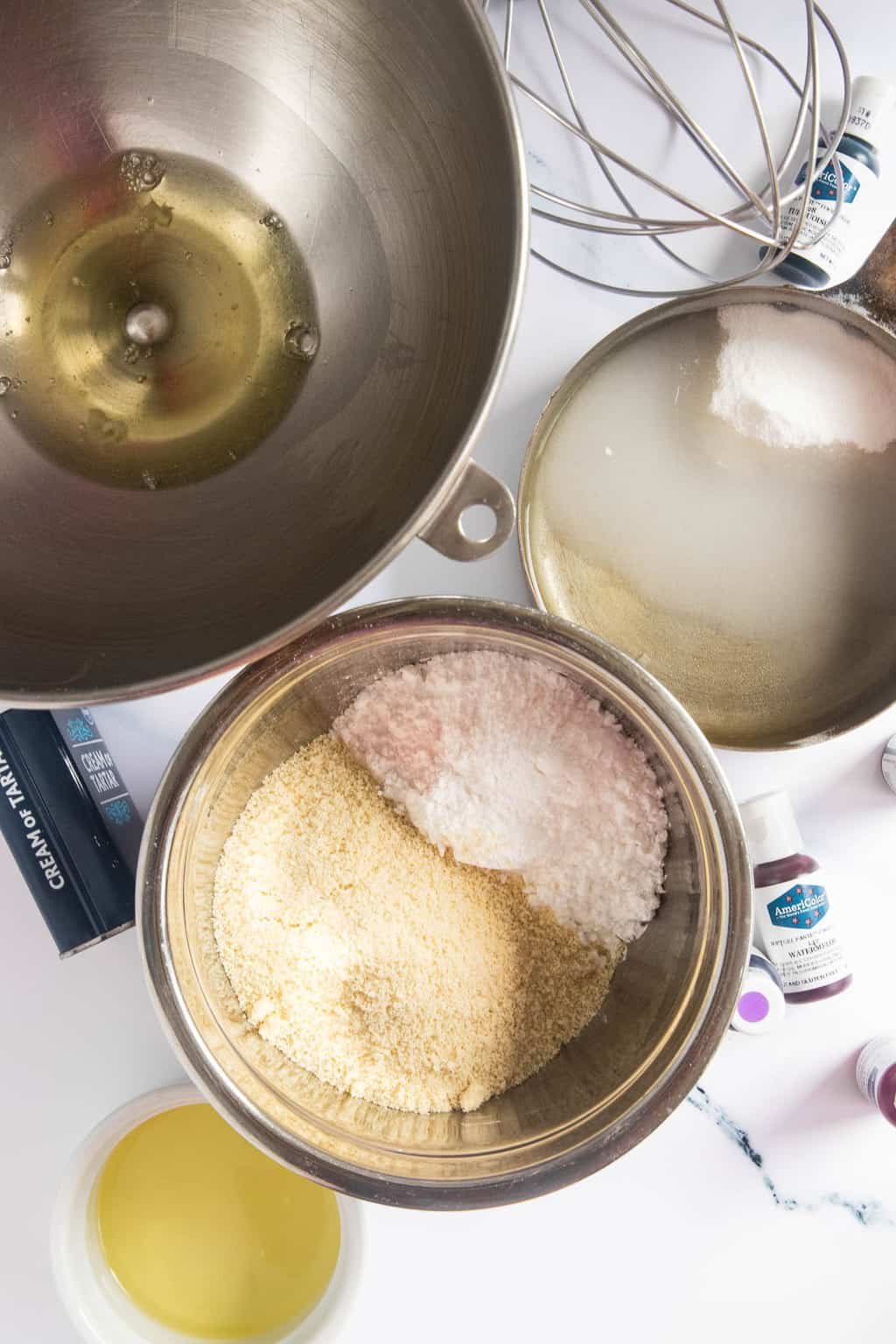 A photo of the ingredients to make Italian Macarons by Sugar and Cloth