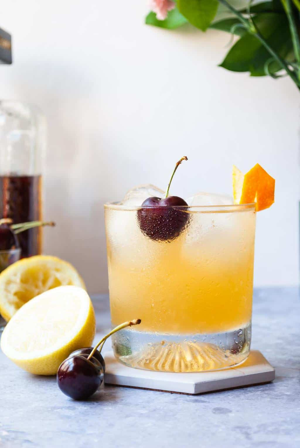 Homemade Amarreto Sour Recipe - Close up shot of the cocktail drink
