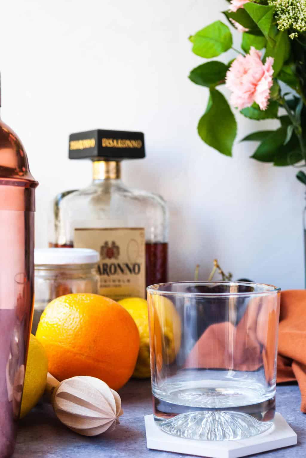 Easy to make Amaretto Sour - a shot of the ingredients to make amaretto sour cocktail