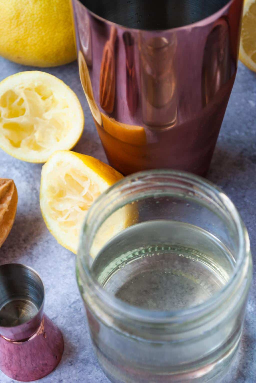 Amaretto Sour Drink - Ingredients to make a simple syrup