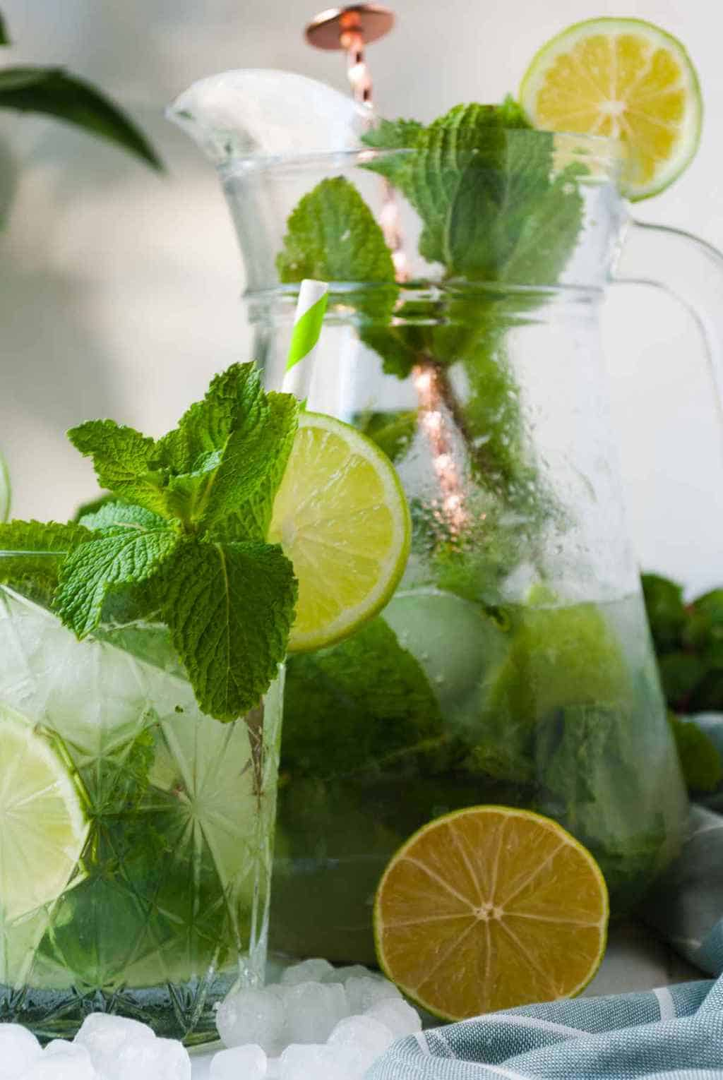 mojito punch - horizontal shot of a pitcher and glassful of mojito drink.