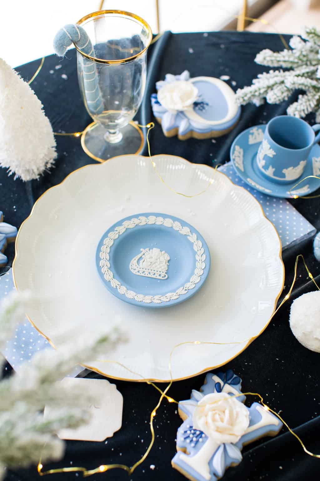 Christmas aesthetic - photo of a polar blue table setting by Ashley Rose of Sugar & Cloth