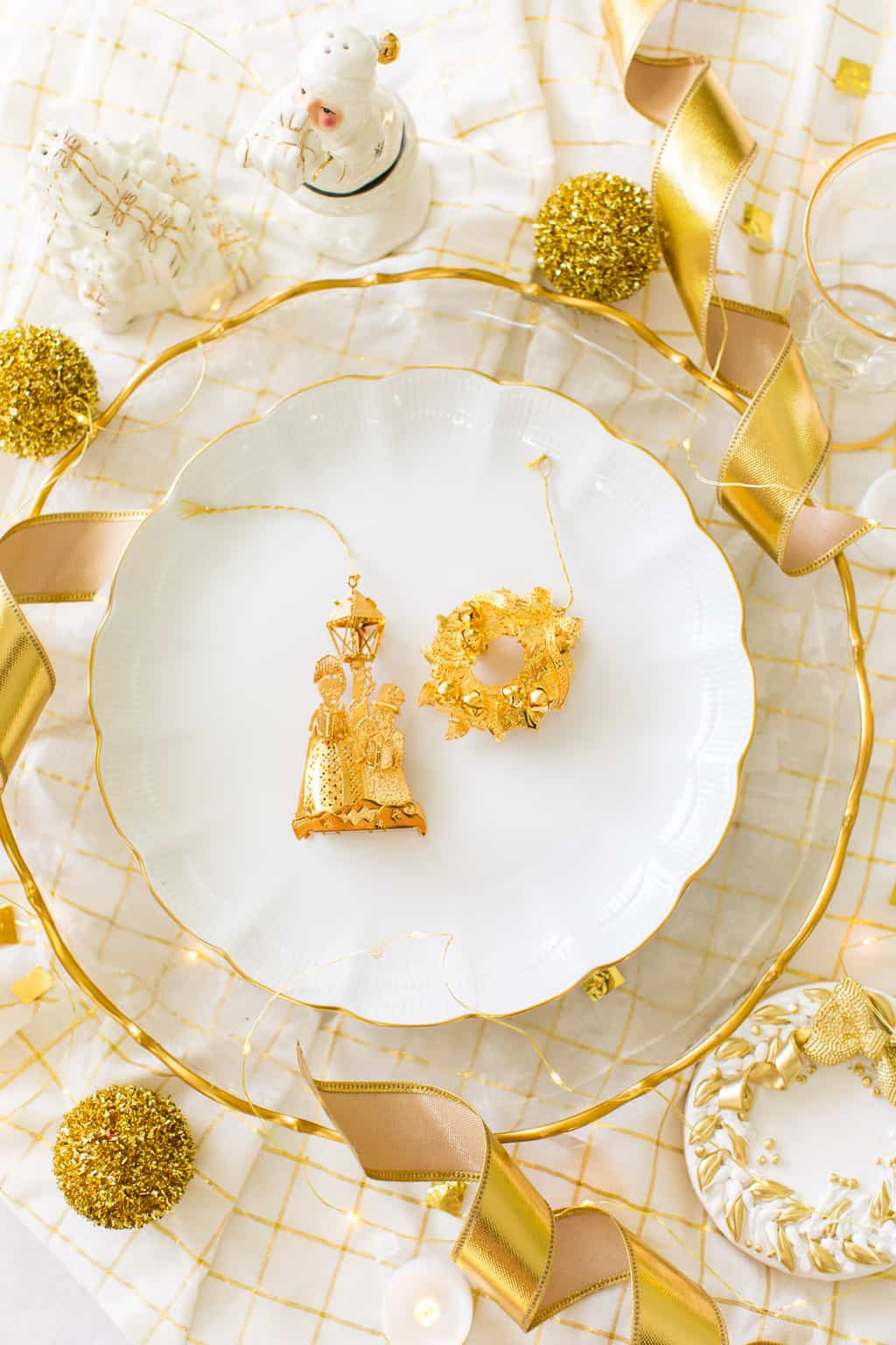 Classic Gold & White Christmas Aesthetic - gold Christmas table decor