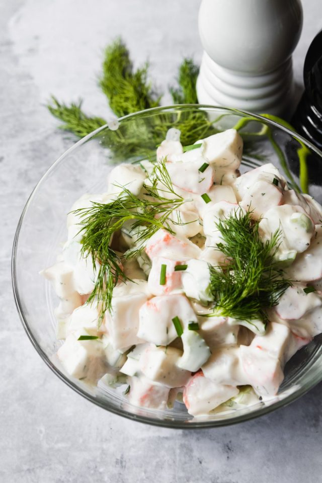 easy crab salad ingredients - mixing the dressing of crab salad.