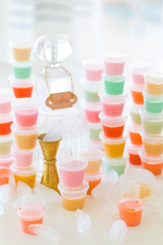 jello shots - stacks of different colored jello shots