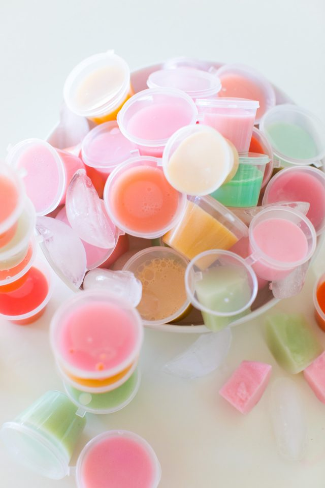 how to make vodka jello shooters - high angled photo of jello shots in a bowl.