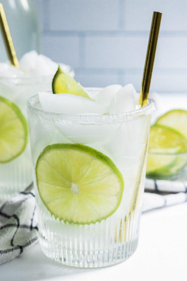making limeade - a single serving of limeade juice